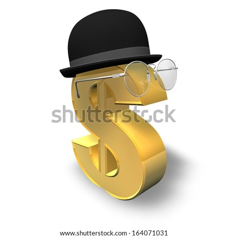 financial future and wealth planning concept illustration isolated, smart gold dollar symbol with gentleman hat and bins - stock photo