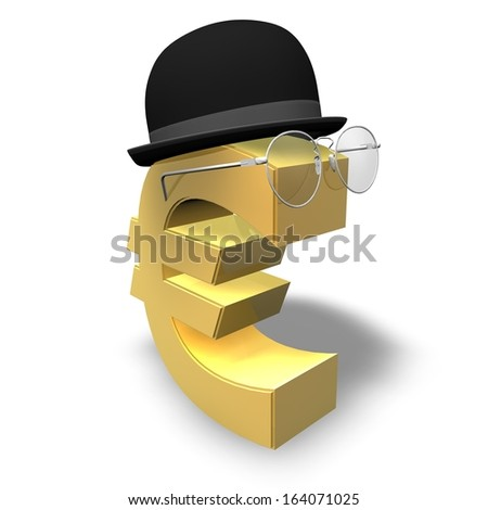 financial future and wealth planning concept illustration isolated, smart gold euro symbol with gentleman hat and specs - stock photo