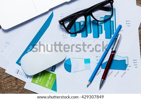 financial graph and chart - stock photo