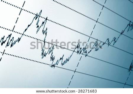 financial graph or stock chart on screen of a display - stock photo