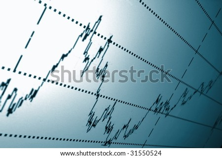 financial graph or stock chart on screen of a display
