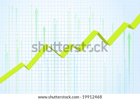 Financial graph showing rise