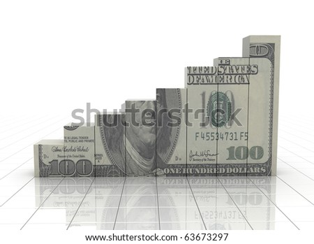 Financial graph with dollar texture - stock photo