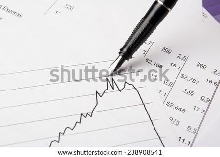 Financial graphs analysis - stock photo