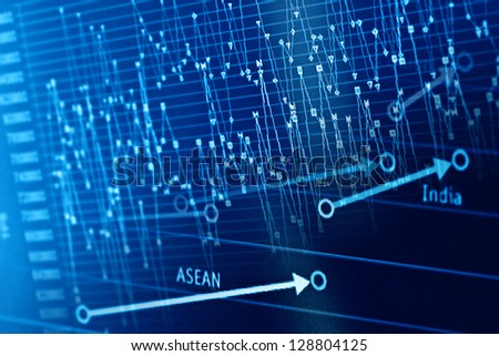 Financial graphs on a monitor. Finance data concept. - stock photo