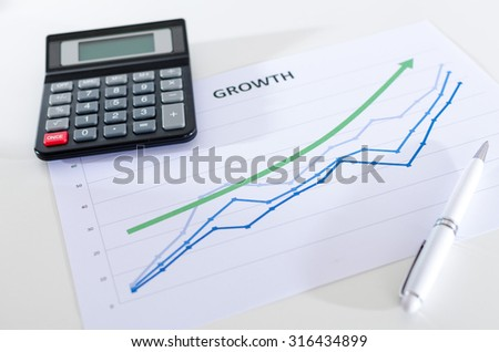 Financial graphs showing growth with calculator closeup