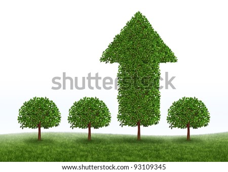 Financial growth and business success with the best investment choices from professional financial advice for retirement as green trees with one performing money tree in the shape of an arrow. - stock photo