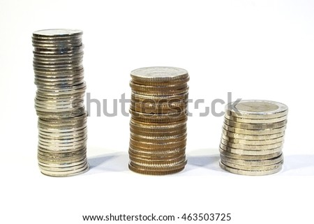 financial growth and savings - Thailand coins money on a white background
