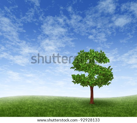 Financial growth and success on a green summer natural green grass landscape with a single tree in the shape of a dollar sign showing a business concept of growing prosperity and investments. - stock photo