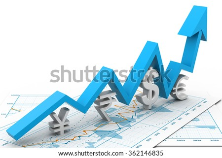 Financial growth chart - stock photo