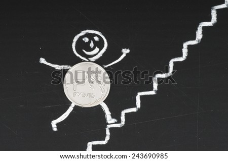 financial growth concept - cheerful coin runs up the stairs , drawing with chalk - stock photo