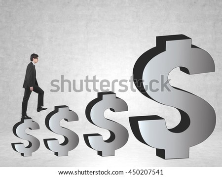 Financial growth concept with businessman climbing abstract dollar sign ladder on concrete background