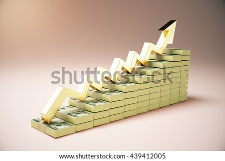 Financial growth concept with dollar banknote ladder and golden upward arrow on pink background. 3D Rendering - stock photo