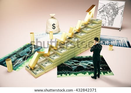 Financial growth concept with thoughtful businessman looking at dollar banknote ladder, business sketch, forex charts and money sack. 3D Rendering - stock photo