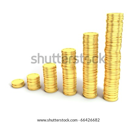 financial growth or money saving 3d concept - stock photo