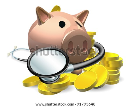 Financial health check concept. A piggy bank with coins and stethoscope wrapped round it. - stock photo