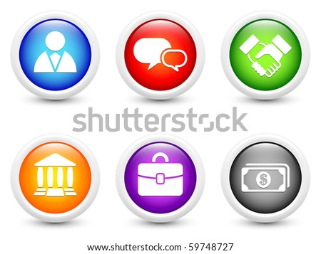 Financial Icon on Simple Round Button Collection Original Illustration - stock photo