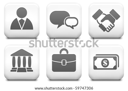 Financial Icons on Square Black and White Button Collection Original Illustration - stock photo