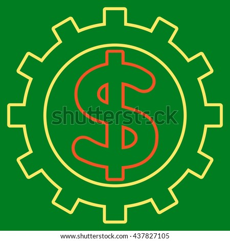Financial Industry glyph icon. Style is linear bicolor flat icon symbol, orange and yellow colors, green background.