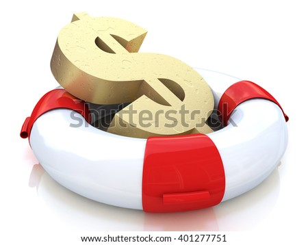Financial insurance concept: golden dollar symbol in lifebelt isolated on white background. 3D rendered illustration - stock photo