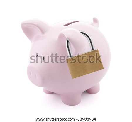 Financial insurance. Piggy bank with padlock - stock photo
