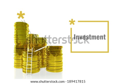 Financial Investment concept, ladders on gold coins - stock photo