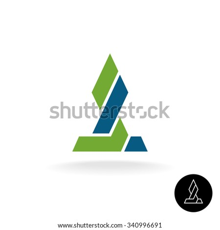 Financial logo concept. Force link connection monumental sign. Power of two sides. Synergy symbol. Arrow grow up sign. - stock photo