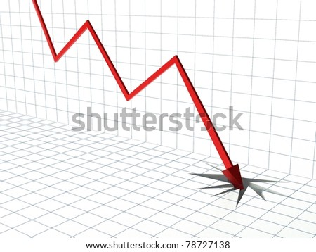 Financial Market Crisis, 3d Abstract with Graph, Arrow and Hole
