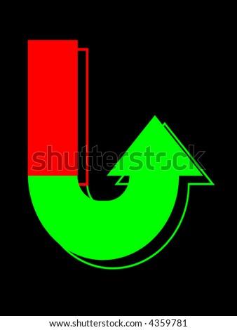 financial market u-turn bullish and gain - stock photo