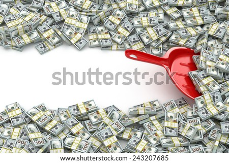 Financial money concept. Scoop and packs of dollars. Space for text. 3d - stock photo