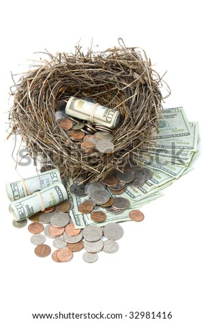 Financial nest egg overflowing with money.