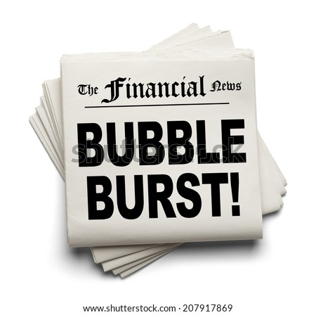 Financial New Paper with Bubble Burst Headline Isolated on White Background. - stock photo