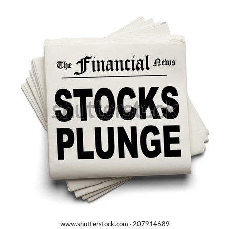 Financial New Paper with Stocks Plunge Headline Isolated on White Background. - stock photo