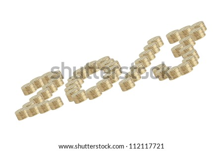 Financial New Year.2013 inscription made from gold coins on white background - stock photo