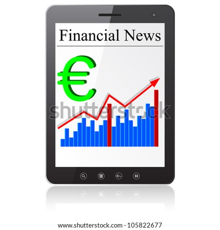 Financial News euro on Tablet PC. Isolated on white.   illustration.