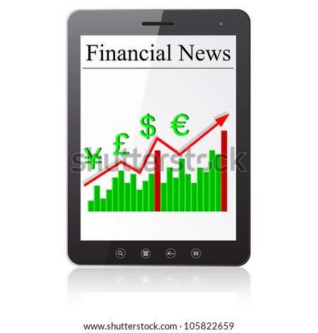 Financial News on Tablet PC. Isolated on white.   illustration.
