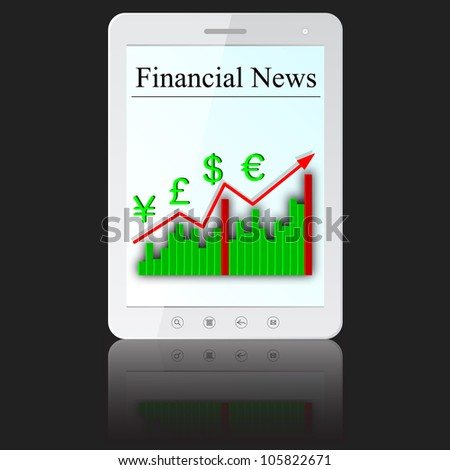 Financial News on white tablet PC computer  isolated on white background.   illustration.