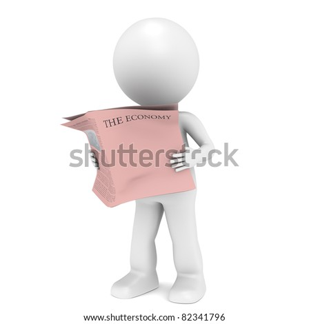 Financial News Paper. 3D little human character Reading a Financial News Paper. Blank Front Page for Copy Space. - stock photo