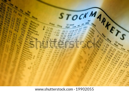 Financial newspaper - stock photo