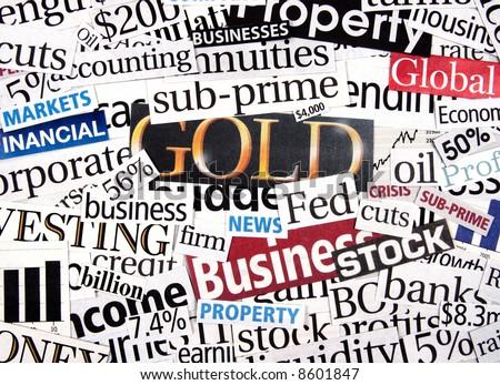 Financial newspaper cuttings - stock photo