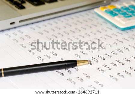 Financial objects: Stock chart, calculator and pen
