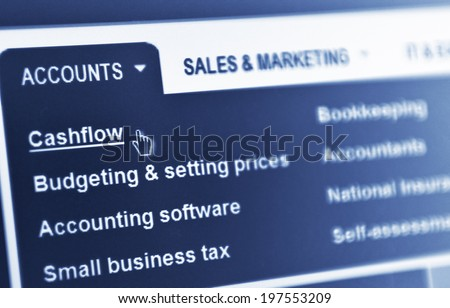 Financial operations (cashflow, budgeting, bookkeeping, accountancy) in blue monochrome - stock photo