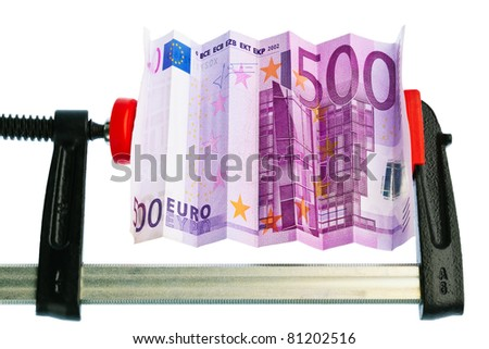 Financial or economic metaphor: euro bill in clamp - stock photo