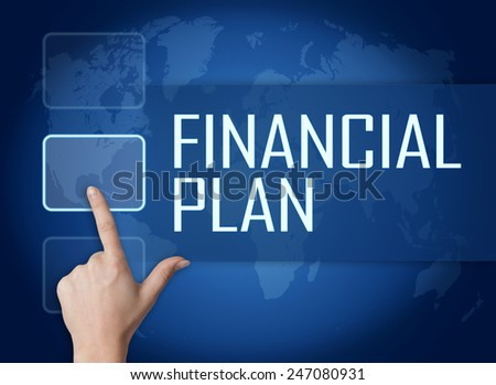 Financial Plan concept with interface and world map on blue background - stock photo