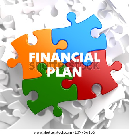 Financial Plan on Multicolor Puzzle on White Background. - stock photo