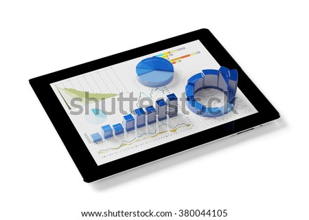 Financial planning on tablet computer with 3D graphs (3D Rendering) - stock photo