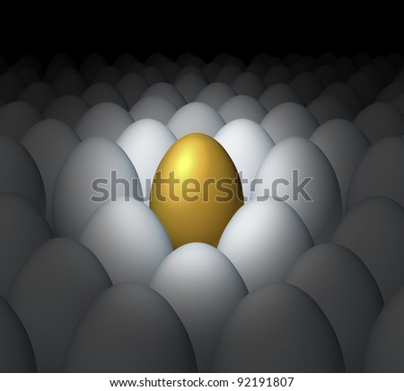 Financial planning success and best investment choice as a golden egg retirement savings as a better value with a competitive advantage of being a leader with competitors. - stock photo