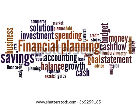 Financial planning, word cloud concept on white background. - stock photo
