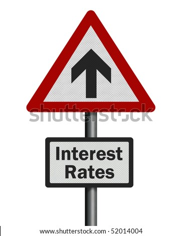 Financial / political concepts series: rising interest rates. Photo realistic, isolated on pure white - stock photo