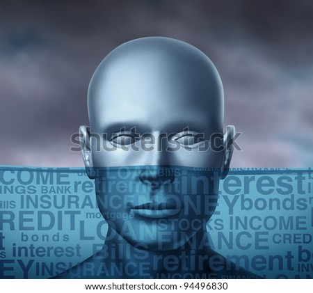 Financial problems drowning in debt and head above water with storm clouds as a human head sinking with different finance terms as insurance and bills or credit and money with other investment  text. - stock photo